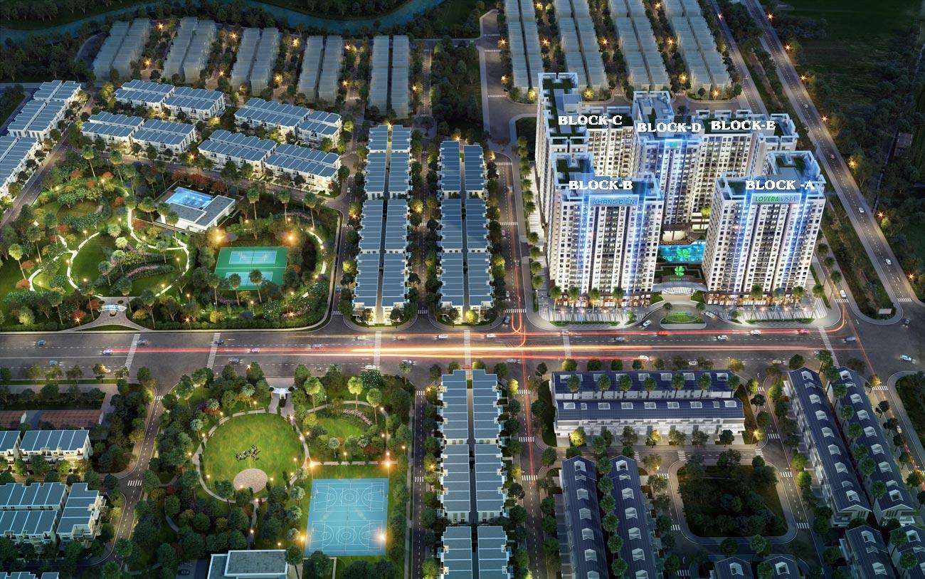 Phối cảnh tổng thể về đêm dự án căn hộ chung cư Lovera Vista Khang Điền Bình Chánh
