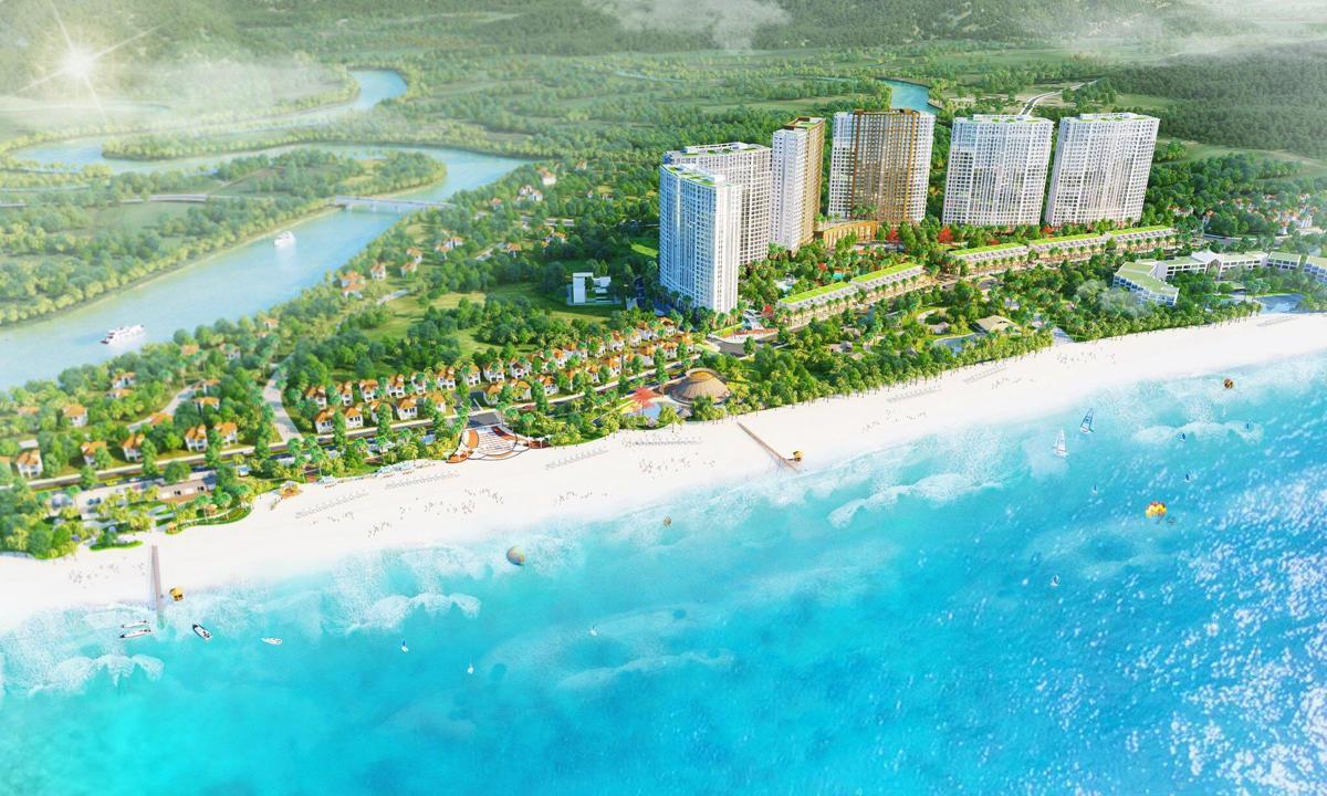 Phối cảnh tổng thể dự án căn hộ nghĩ dưỡng Hồ Tràm Complex tại huyện Hồ Tràm Bà Rịa Vũng Tàu chủ đầu tư Hưng Thịnh