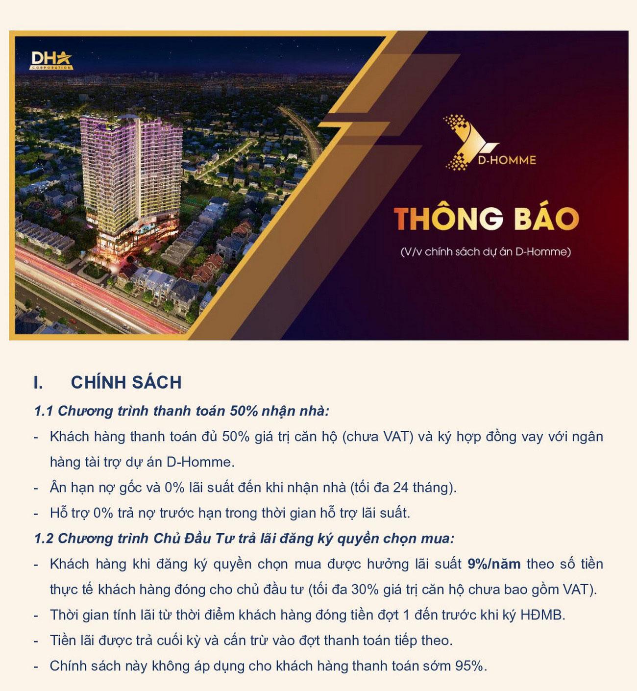 Chính sách ưu đãi dự án căn hộ chung cư D Homme Quận 6 Đường Hồng Bàng chủ đầu tư DHA