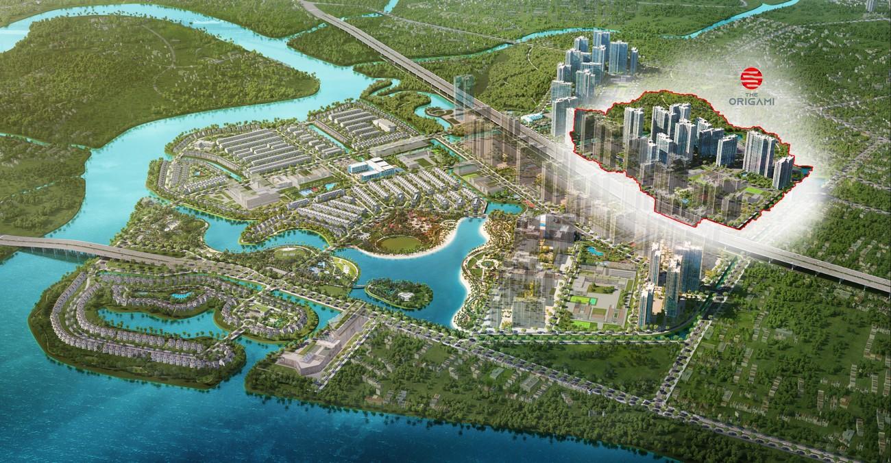 Phối cảnh tổng thể dự án căn hộ chung cư The Origami Quận 9 Đường Nguyễn Xiển chủ đầu tư Vingroup