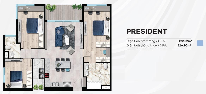 Thiết kế căn hộ du lịch 122m² condotel Merry City Quy Nhơn