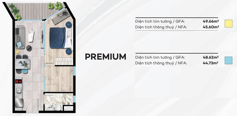 Thiết kế căn hộ du lịch 49m² condotel Merry City Quy Nhơn