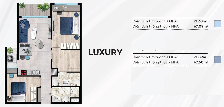 Thiết kế căn hộ du lịch 72m² condotel Merry City Quy Nhơn