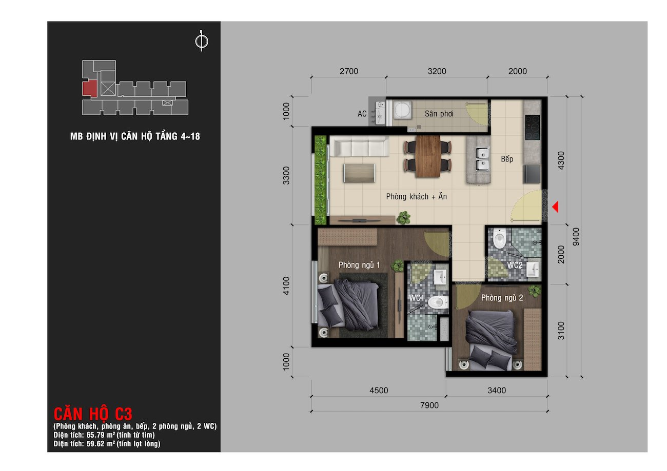 Thiết kế chi tiết căn dự án Happy One PREMIER Quận 12