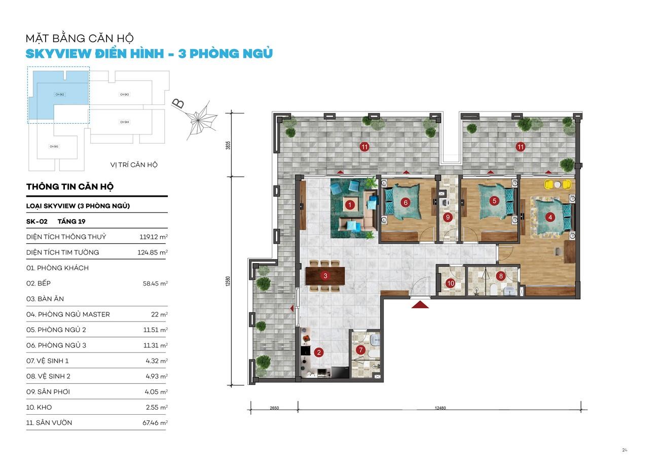 Thiết kế căn hộ Skyview chung cư ST Moritz Thủ Đức Đường Phạm Văn Đồng chủ đầu tư Đất Xanh