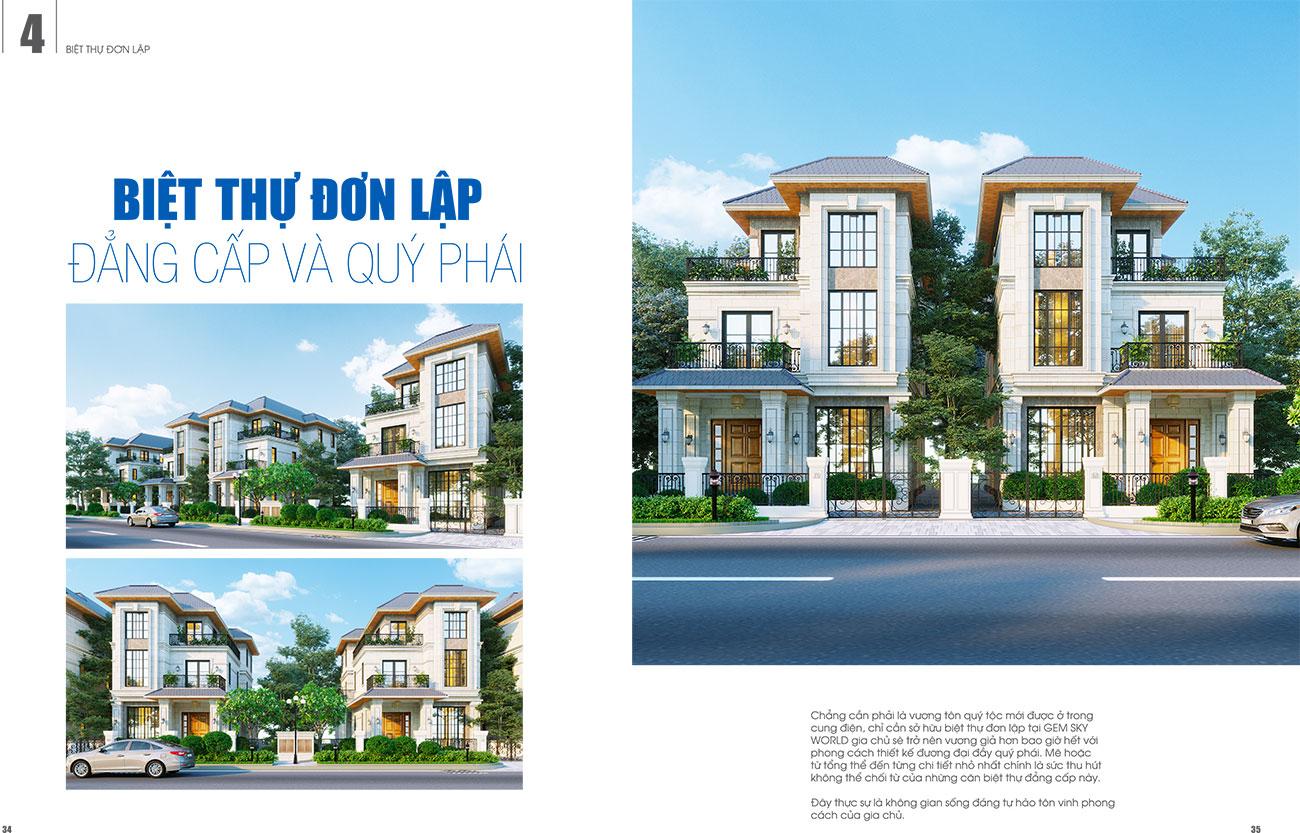 Thiết kế Biệt thự đơn lập dự án Gem Sky World Đất Xanh Long Thành