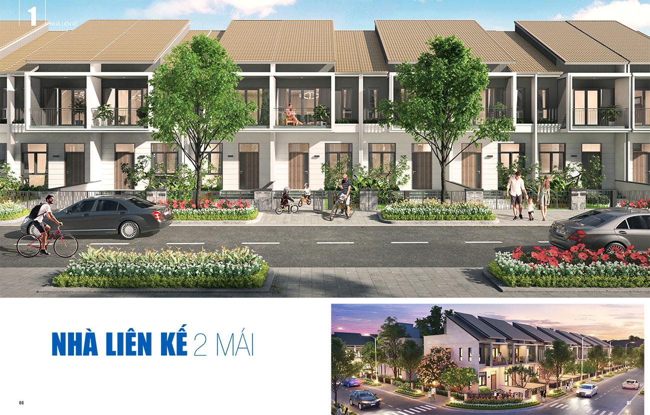 Thiết kế nhà liên kế 2 mái dự án Gem Sky World Đất Xanh Long Thành
