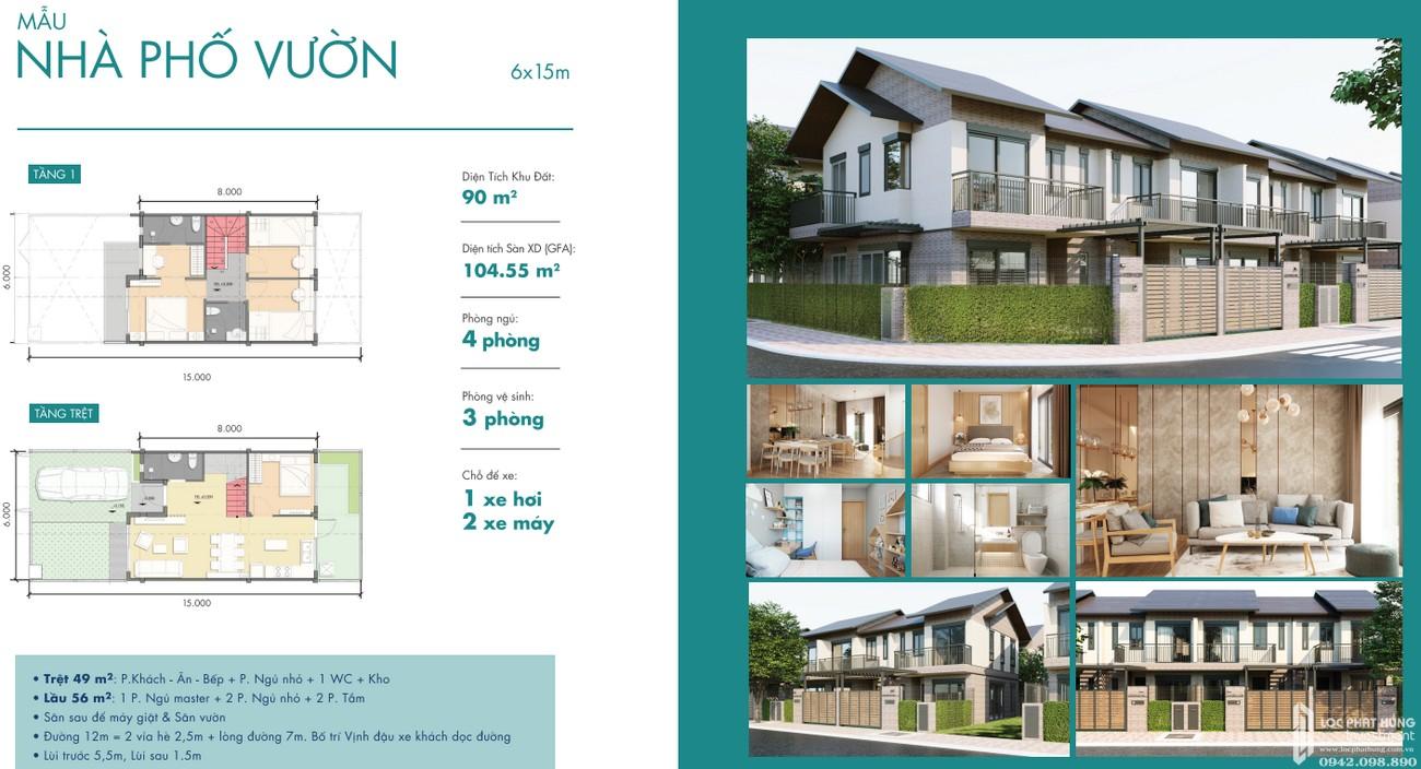 Thiết kế chi tiết nhà phố vườn dự án Waterpoint Long An Đường Tỉnh lộ 830 chủ đầu tư Nam Long