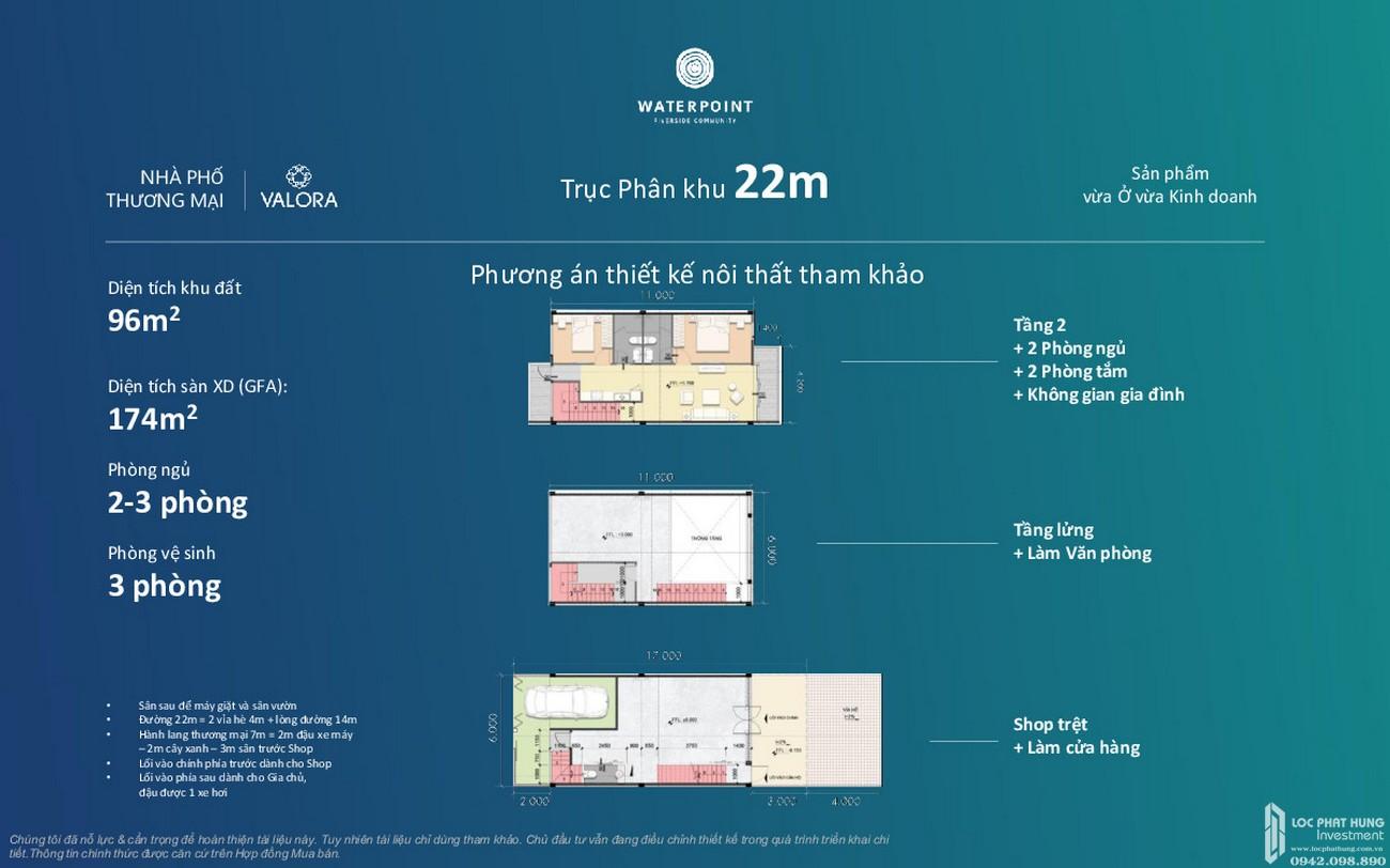 Thiết kế nhà phố thương mại Waterpoint Long An Đường Tỉnh lộ 830 chủ đầu tư Nam Long
