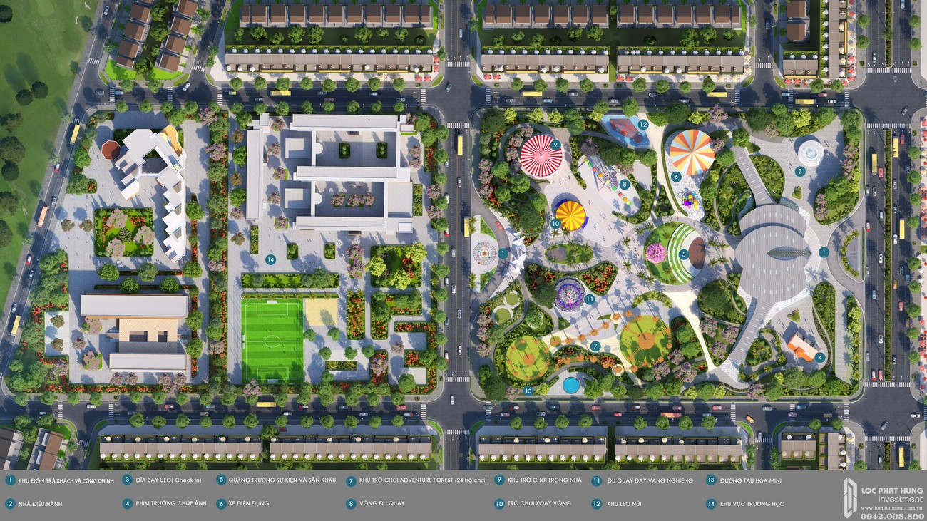 Tiện ích dự án nhà phố đất nền Gem Sky World Đất Xanh Đường Quốc Lộ 51 Long Thành