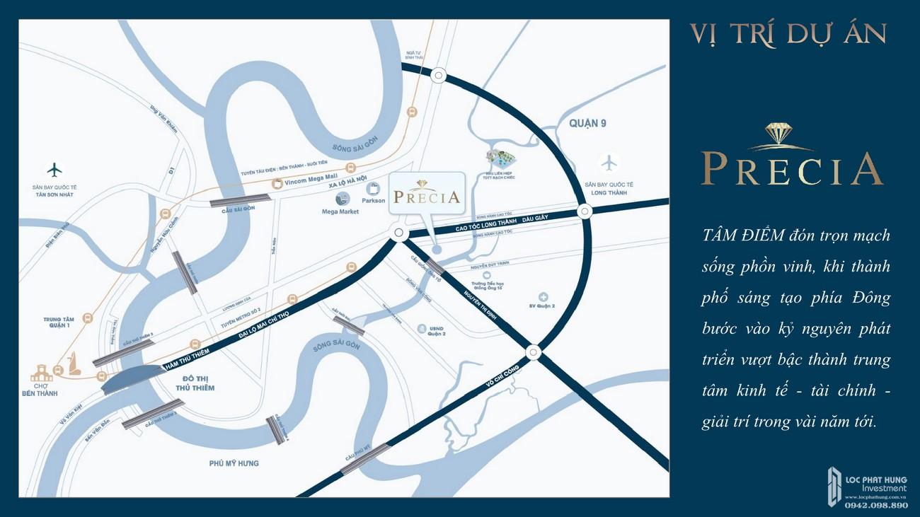 Vị trí địa chỉ dự án căn hộ chung cư Precia Quận 2 Đường Nguyễn Thị Định chủ đầu tư Minh Thông