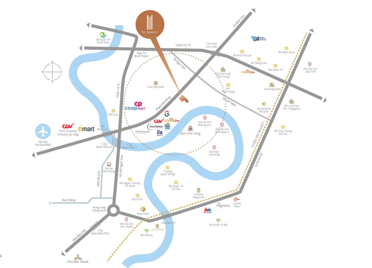Vị trí địa chỉ dự án căn hộ chung cư ST Moritz Thu Duc Đường Phạm Văn Đồng chủ đầu tư Đất Xanh