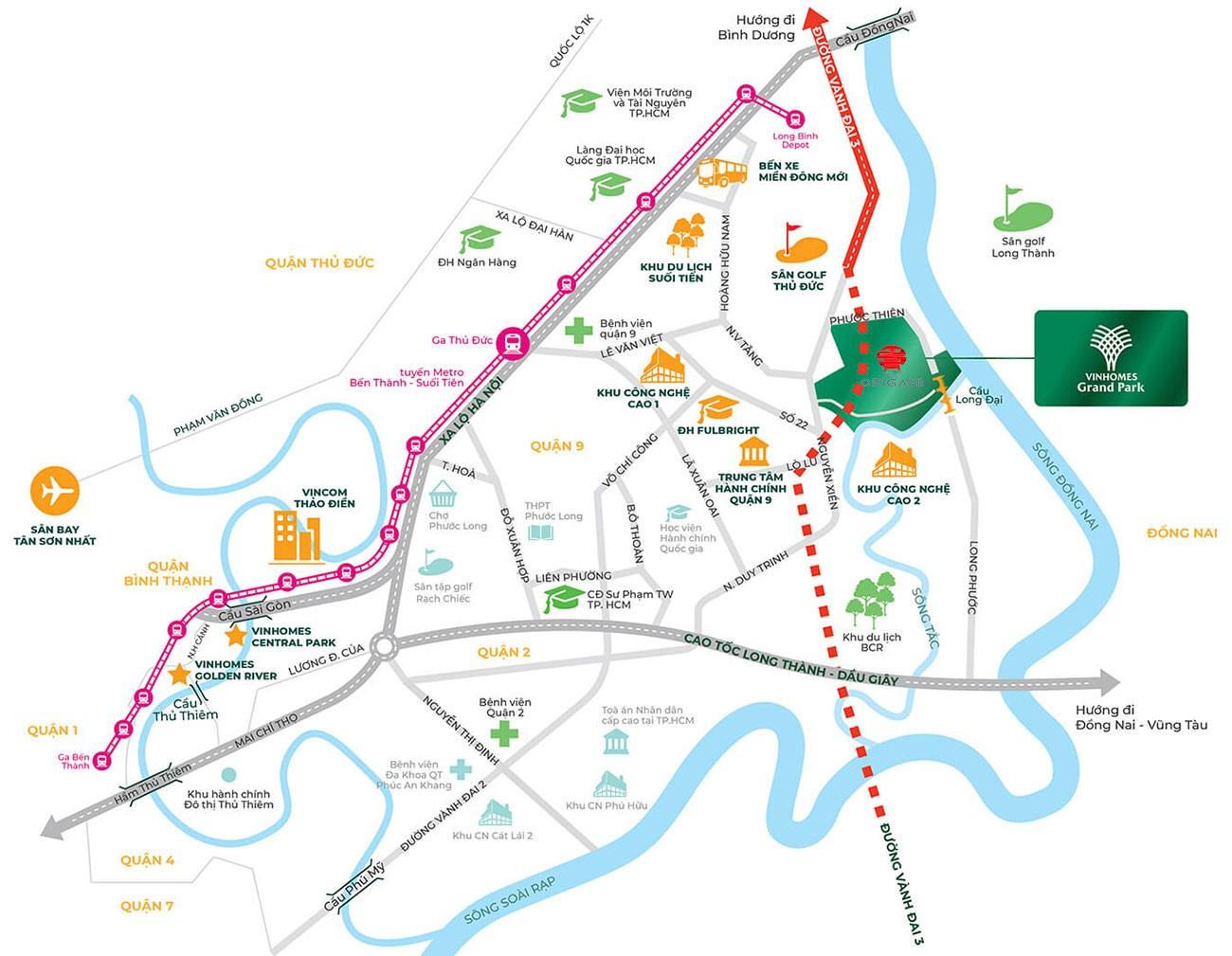 Vị trí địa chỉ dự án căn hộ chung cư The Origami Quận 9 Đường Nguyễn Xiển chủ đầu tư Vingroup