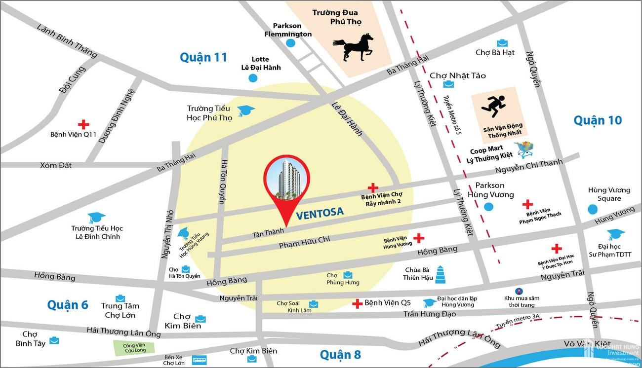 Vị trí địa chỉ dự án căn hộ chung cư Venus Luxury Quận 5 Số 66 Đường Tân Thành chủ đầu tư Tân Thành