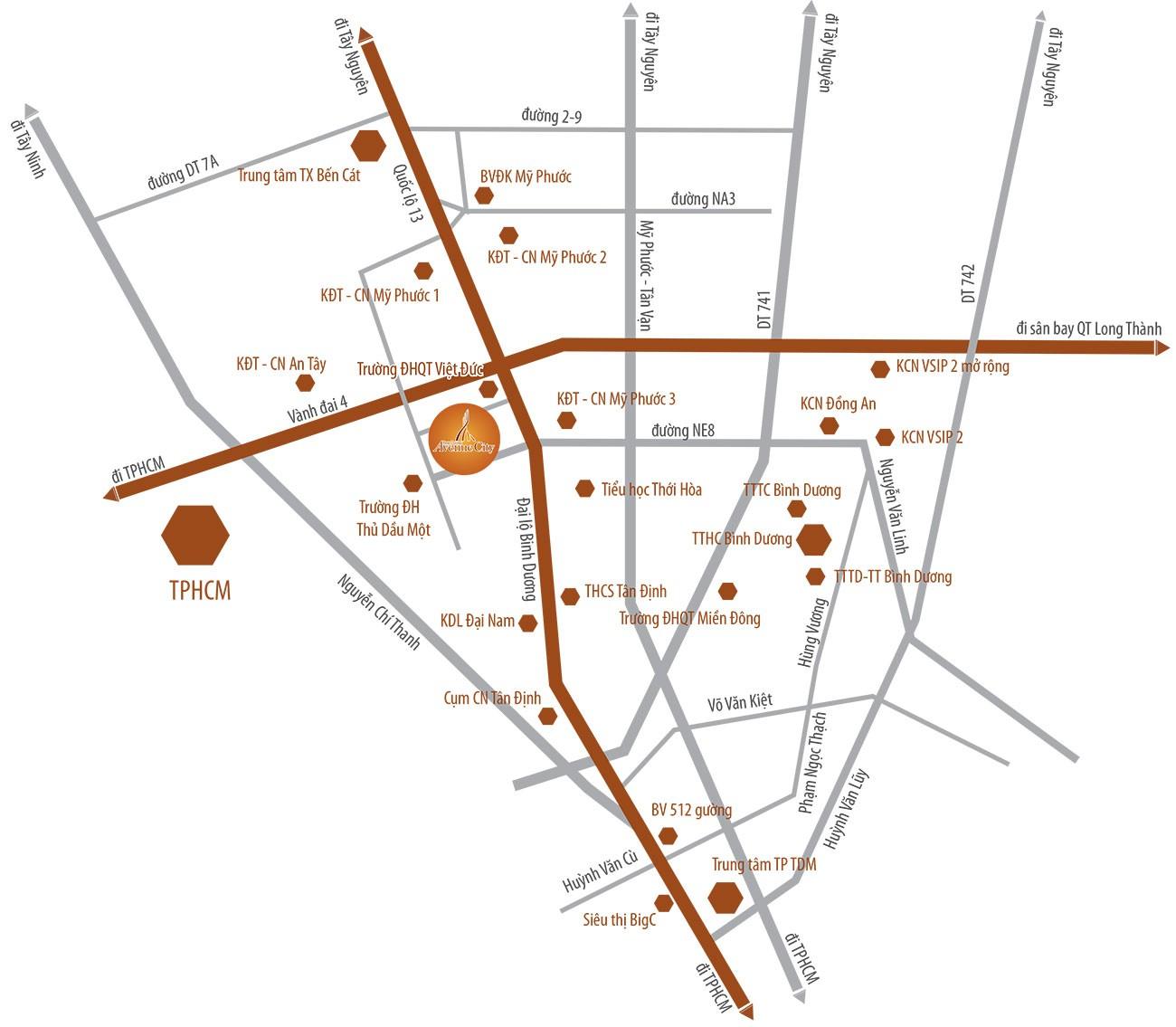 Vị trí địa chỉ dự án đất nền nhà phố Bình Dương Avenue City Bến Cát Đường Quốc lộ 13 chủ đầu tư Phú Cường