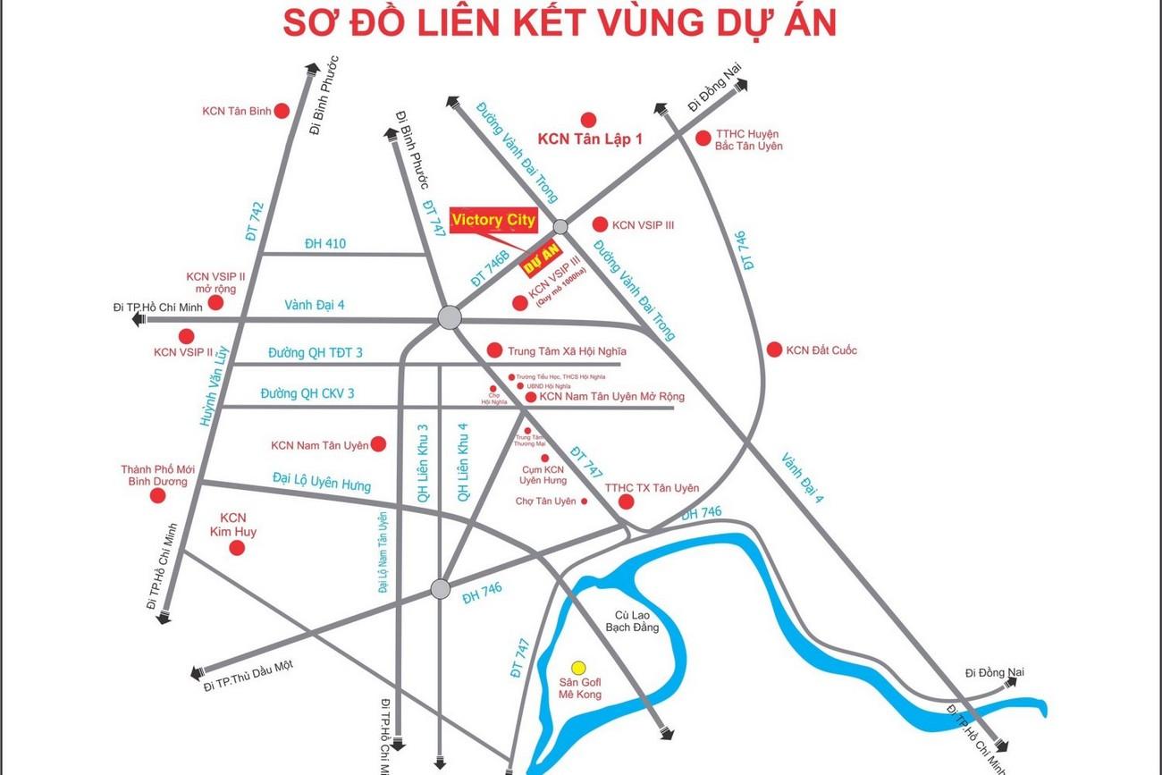 Vị trí địa chỉ dự án đất nền Victory City Bắc Tân Uyên Đường DT 746 chủ đầu tư Tân Lập