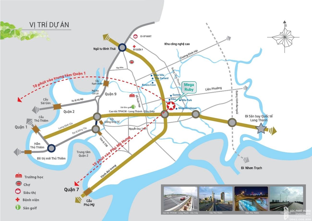 Vị trí địa chỉ dự án nhà phố Mega Ruby Quận 9 chủ đầu tư Khang Điền