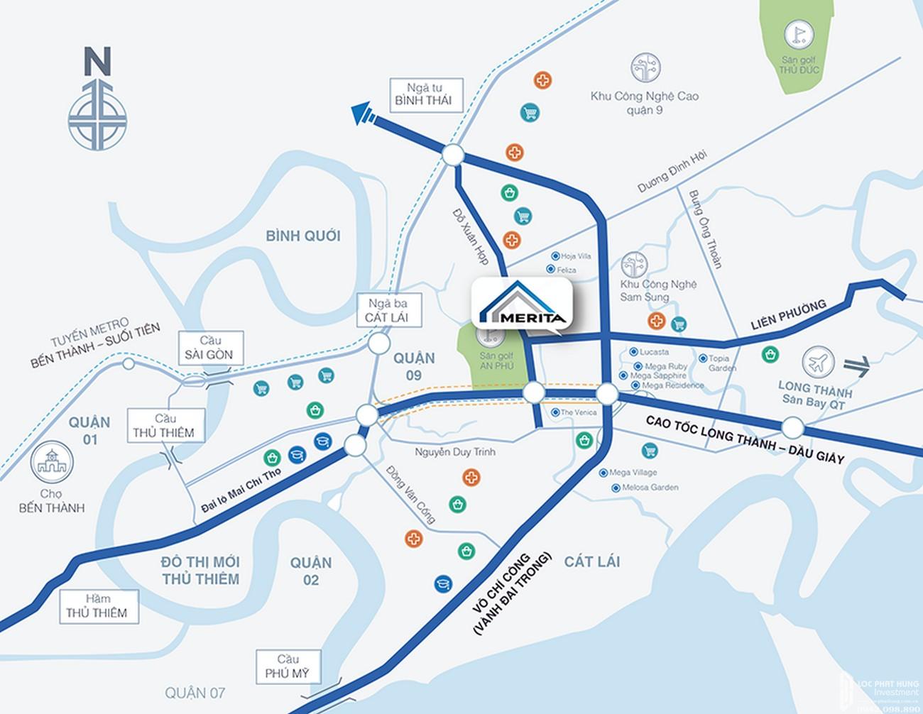 Vị trí địa chỉ dự án nhà phố Merita Quận 9 Đường Liên Phường chủ đầu tư Khang Điền