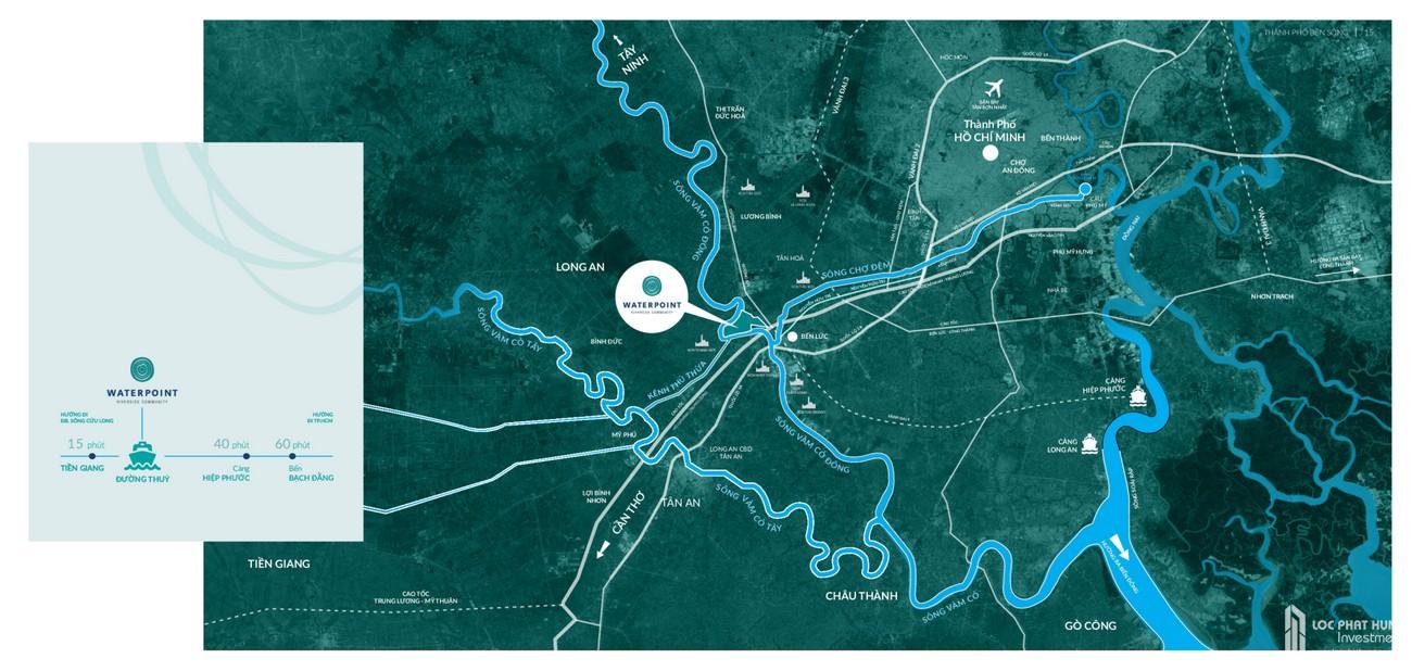 Vị trí địa chỉ dự án đất nền nhà phố Waterpoint Long An Đường Tỉnh lộ 830 chủ đầu tư Nam Long
