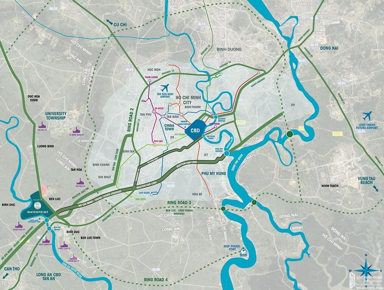 """Vị trí """"kim cương"""" dự án khu đô thị thông minh Waterpoint Long An"""