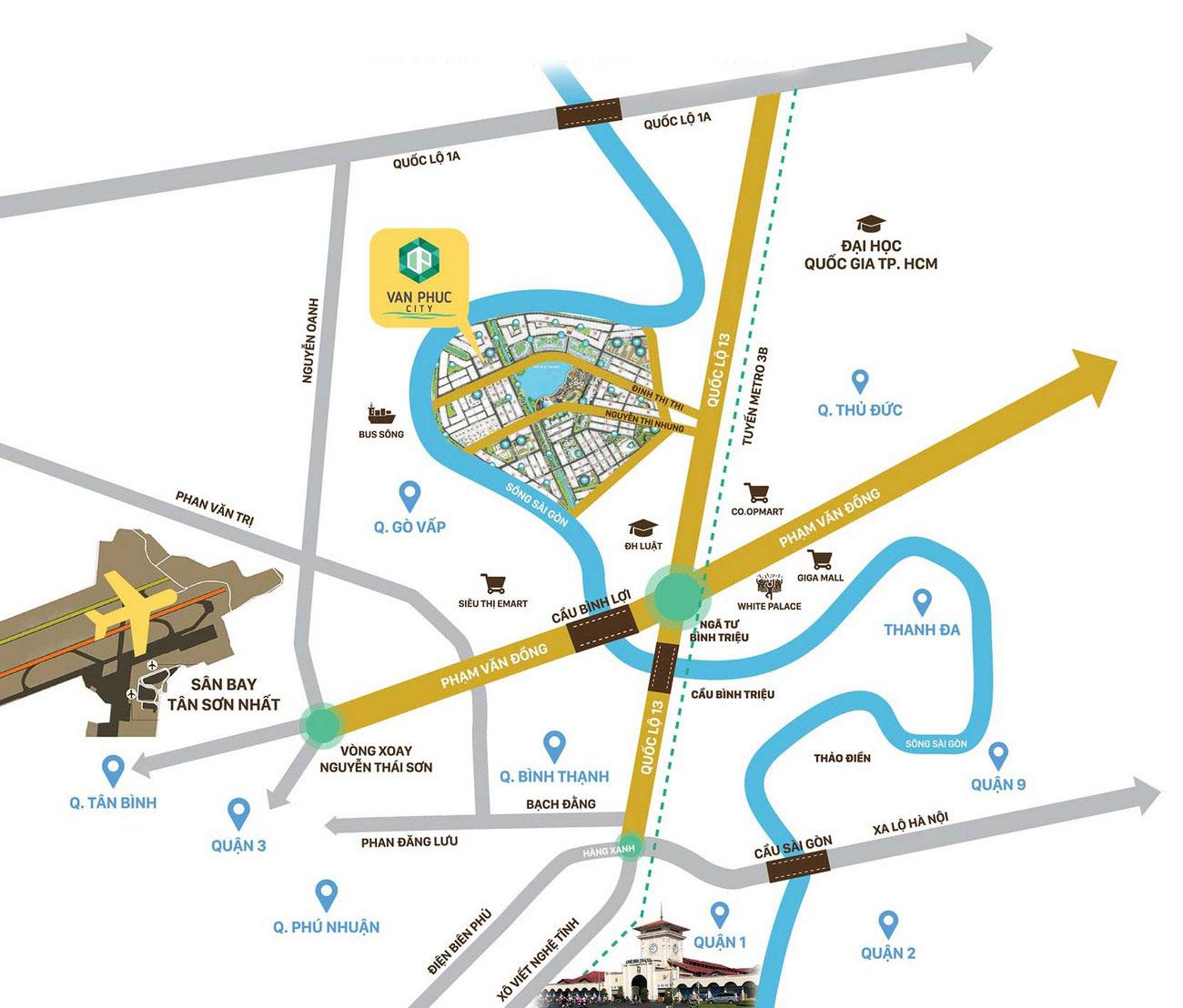 Vị trí dự án căn hộ Vạn Phúc City tại Quốc Lộ 13 Quận Thủ Đức