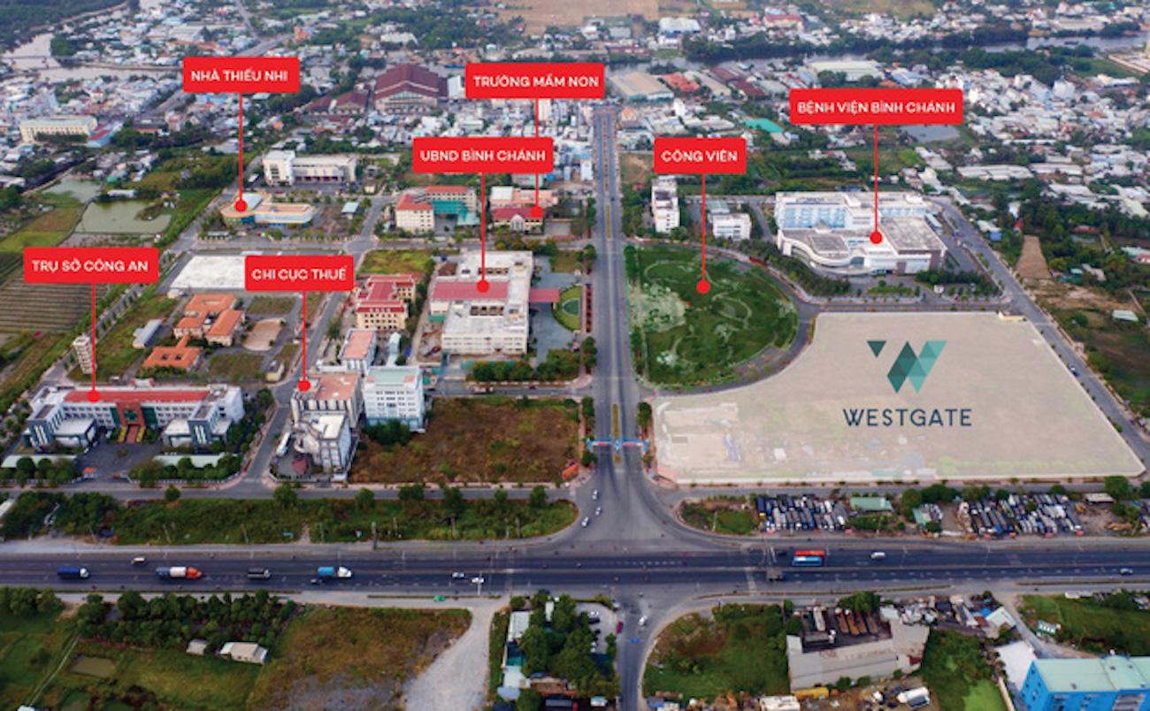 Trung tâm hành chính Bình Chánh West Gate Tân Túc với đầy đủ tiện ích công