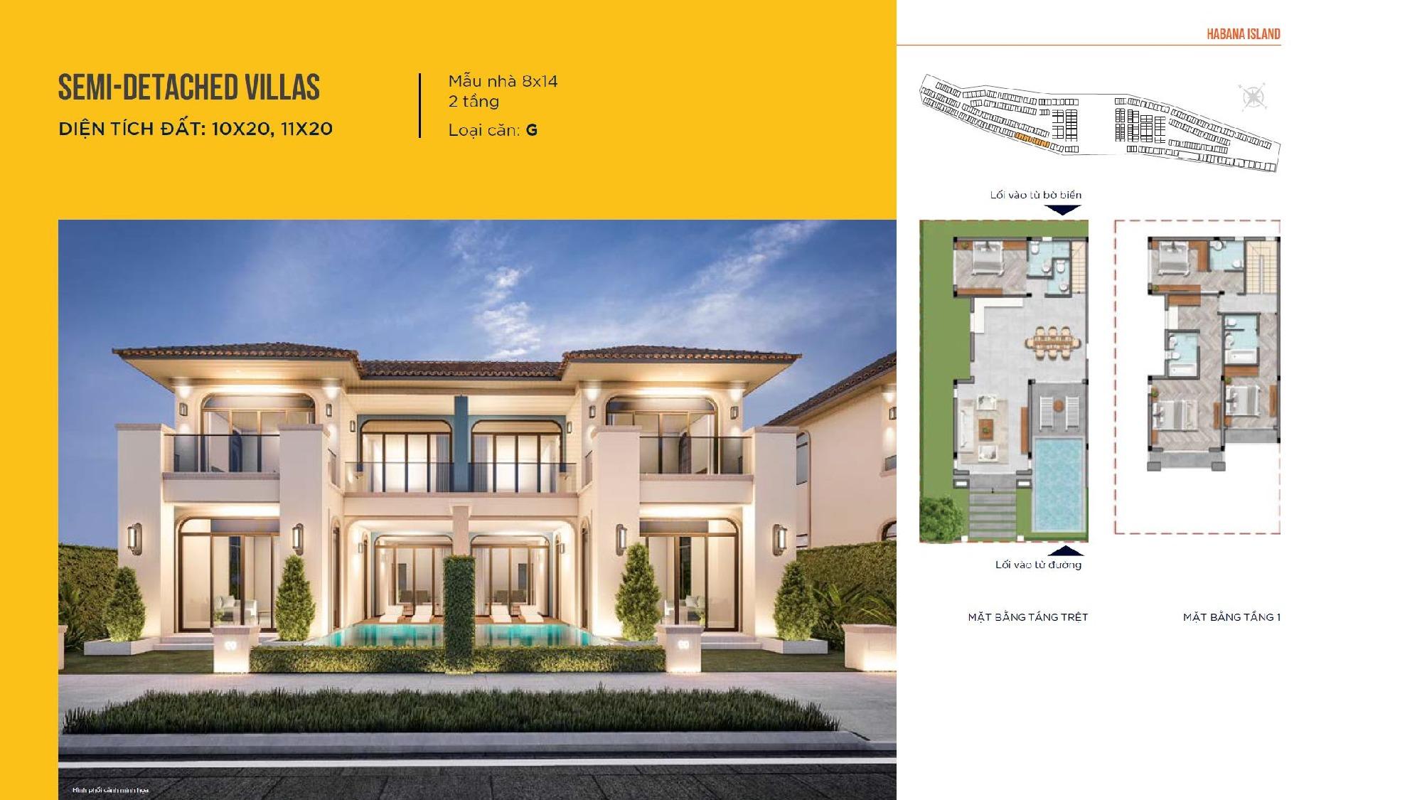 Thiết kế nhà mẫu Semi-Detached Villas 8x14 loại căn G Novaworld Đà Lạt nhà phát triển Novaland