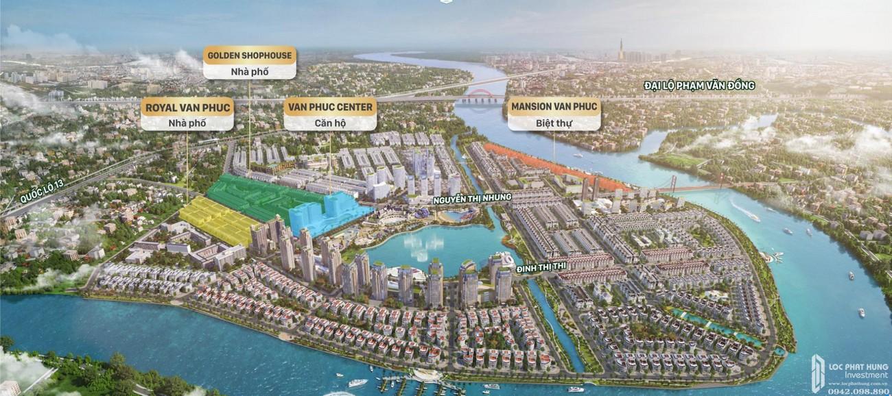 Mặt bằng dự án Khu Đô Thị Vạn Phúc City Quận Thủ Đức Đường Quốc lộ 13 chủ đầu tư Vạn Phúc Group
