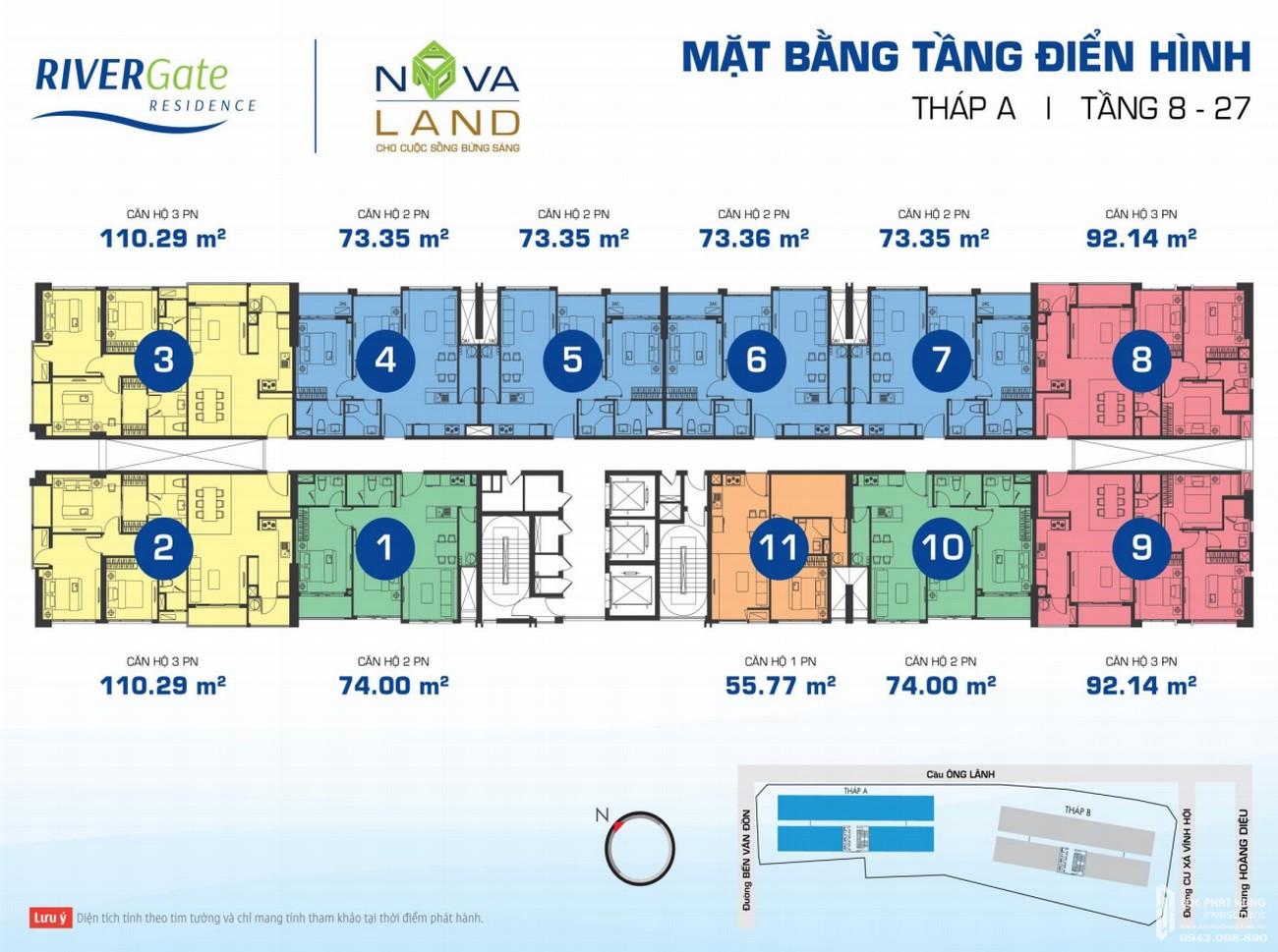Mặt bằng dự án căn hộ chung cư Rivergate Residence Quận 4 Đường Bến Vân Đồn chủ đầu tư Novaland