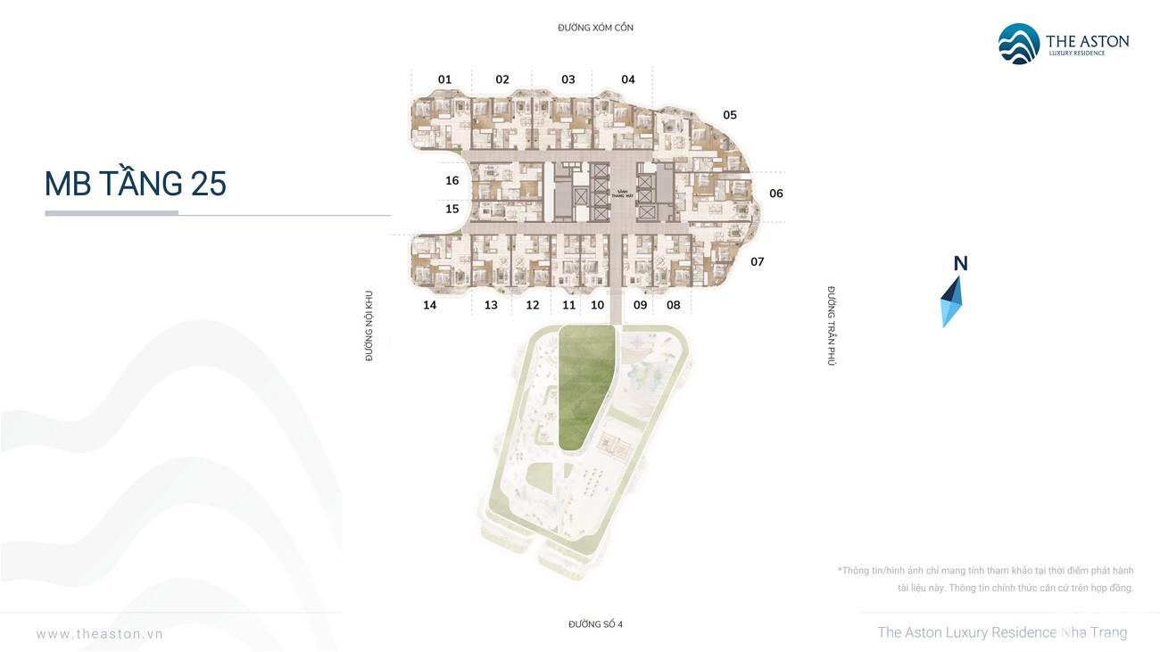 Mặt bằng dự án căn hộ chung cư The Aston Nha Trang Đường Xóm Cồn chủ đầu tư DKRH