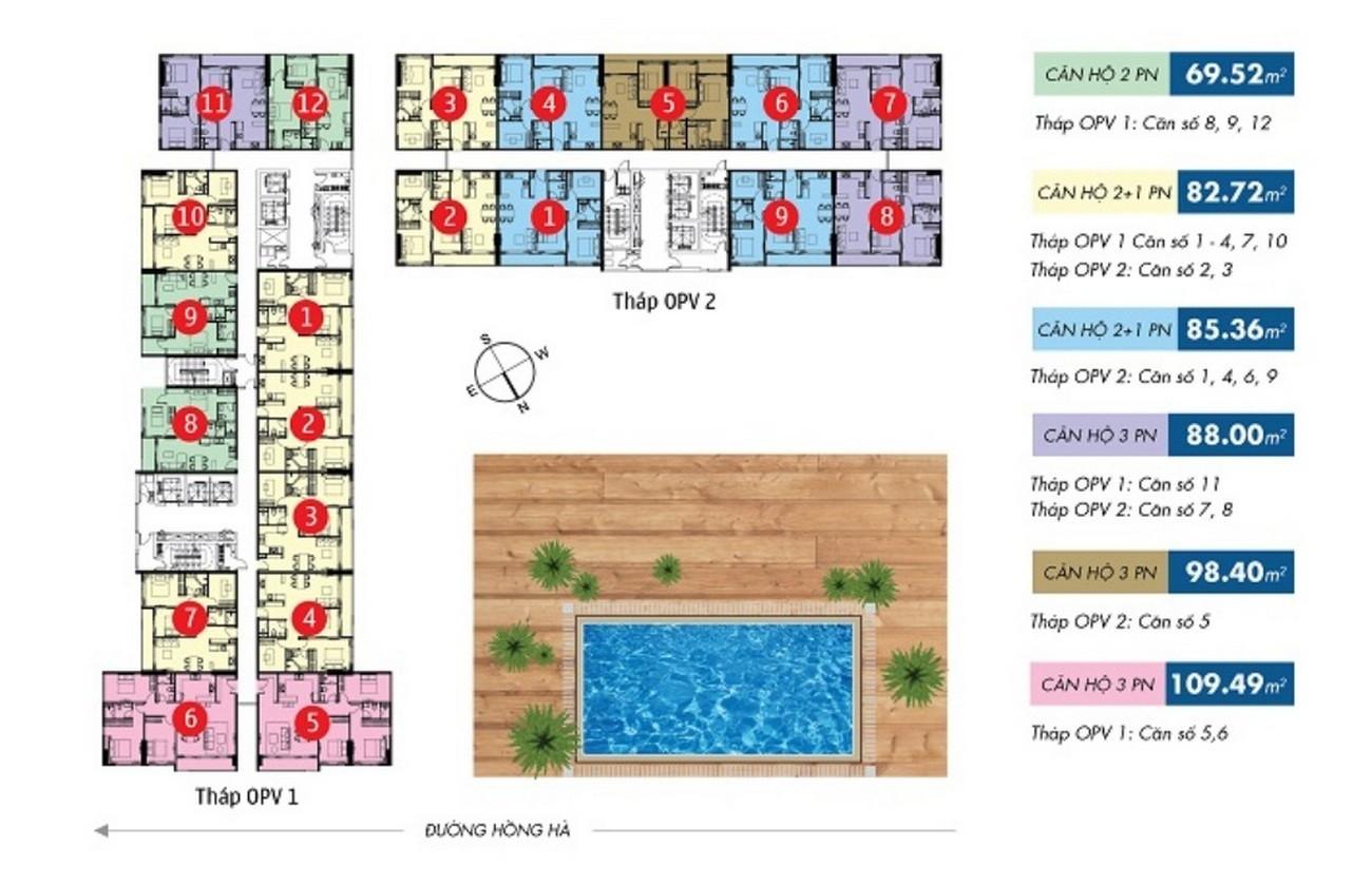 Mặt bằng dự án căn hộ chung cư Orchard Parkview Phú Nhuận Đường 130 - 132 Hồng Hà chủ đầu tư Novaland