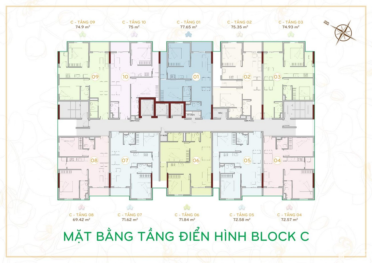 Mặt bằng dự án căn hộ chung cư Orchid Park Nhà Bè Đường Nguyễn Lương Bằng chủ đầu tư Cotec