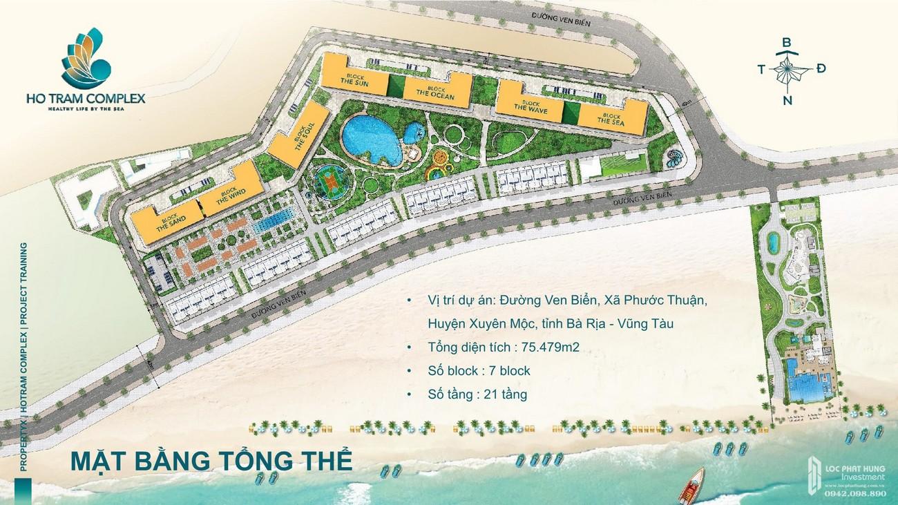 Mặt bằng chi tiết của dự án Hồ Tràm Complex