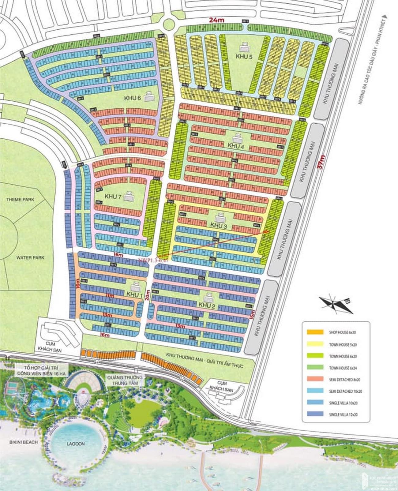 Mặt bằng dự án Khu đô thị Novaworld Phan Thiết đường Lạc Long Quân nhà phát triển Novaland