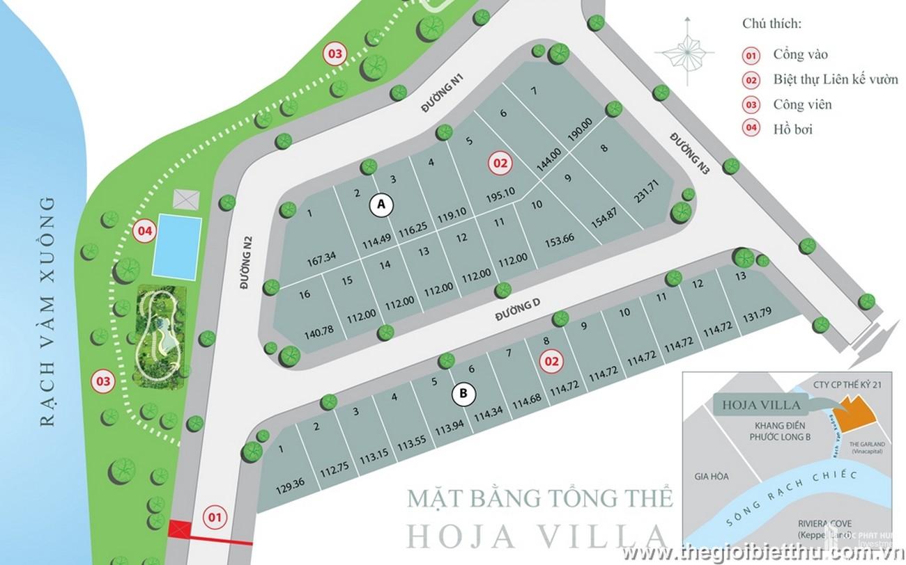 Mặt bằng dự án nhà phố Hoja Villa Quận 9 chủ đầu tư Khang Điền