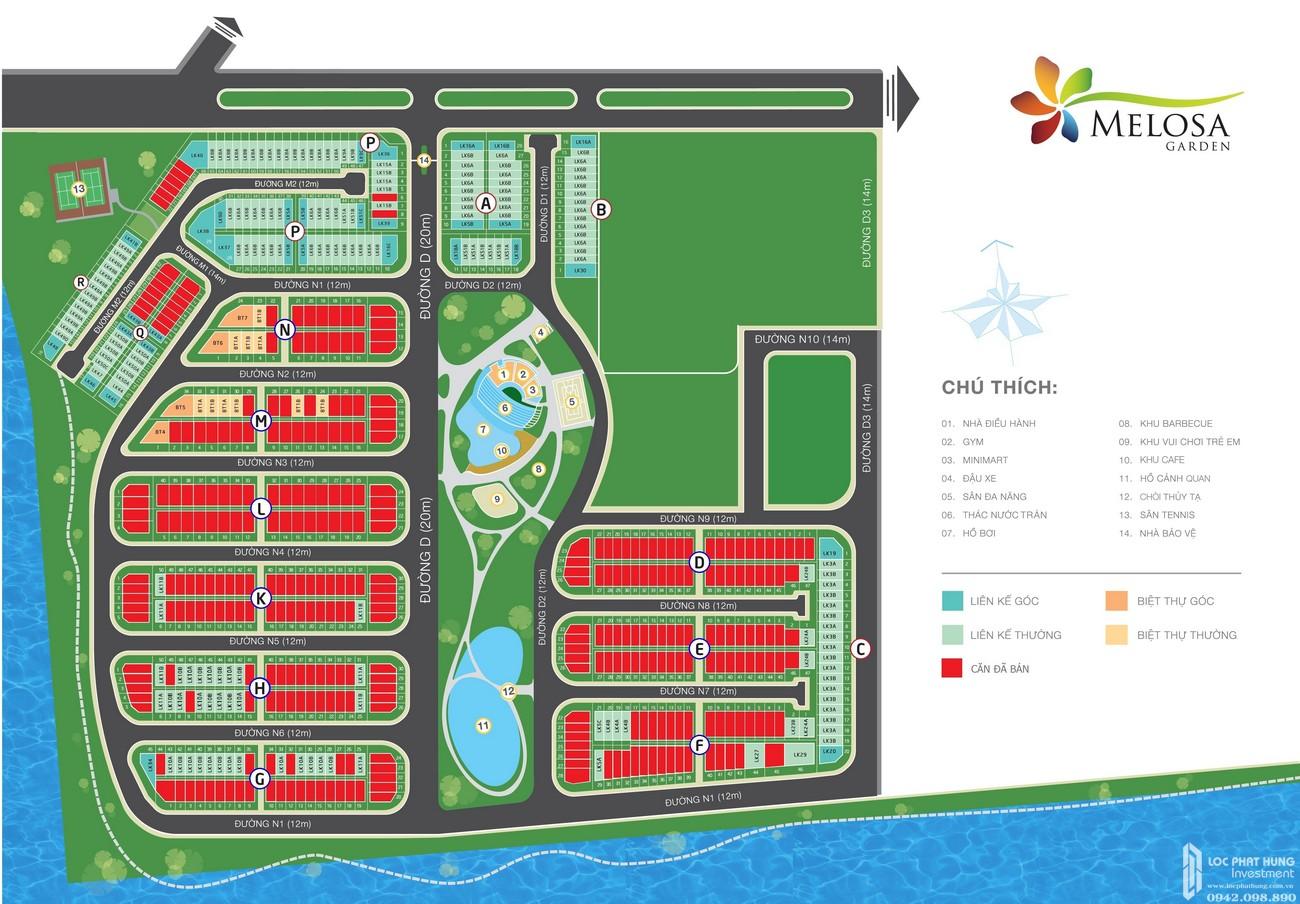 Mặt bằng dự án nhà phố Melosa Garden Quận 9 Đường Vành Đai Trong chủ đầu tư Khang Điền