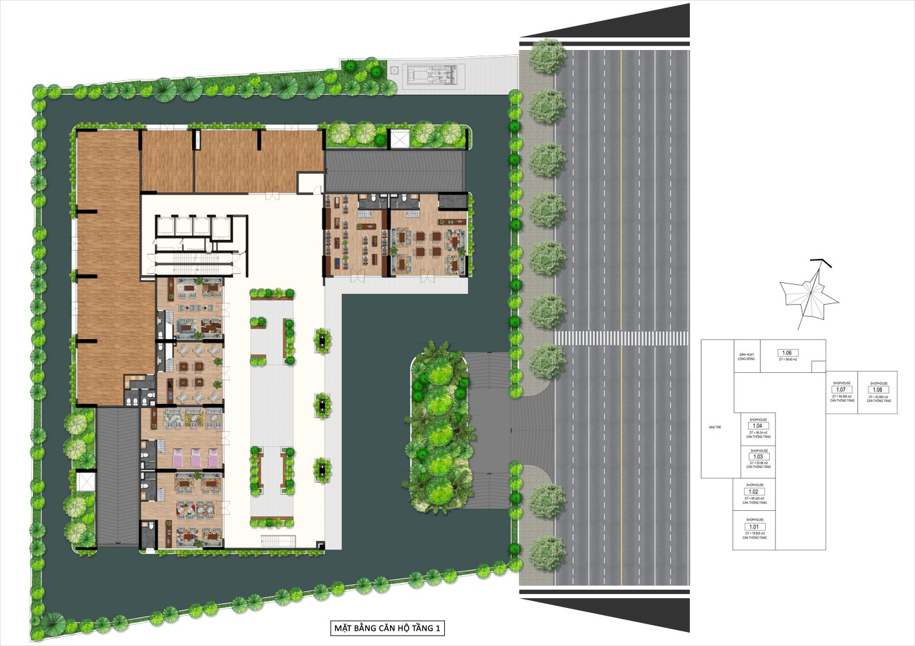 Mặt bằng tầng trệt dự án Goldora Plaza Nhà Bè