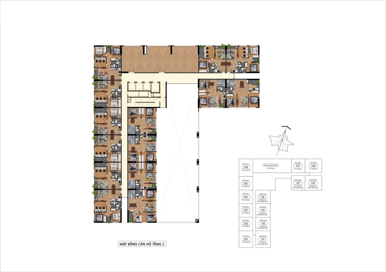 Mặt bằng tầng 2 dự án Goldora Plaza Nhà Bè