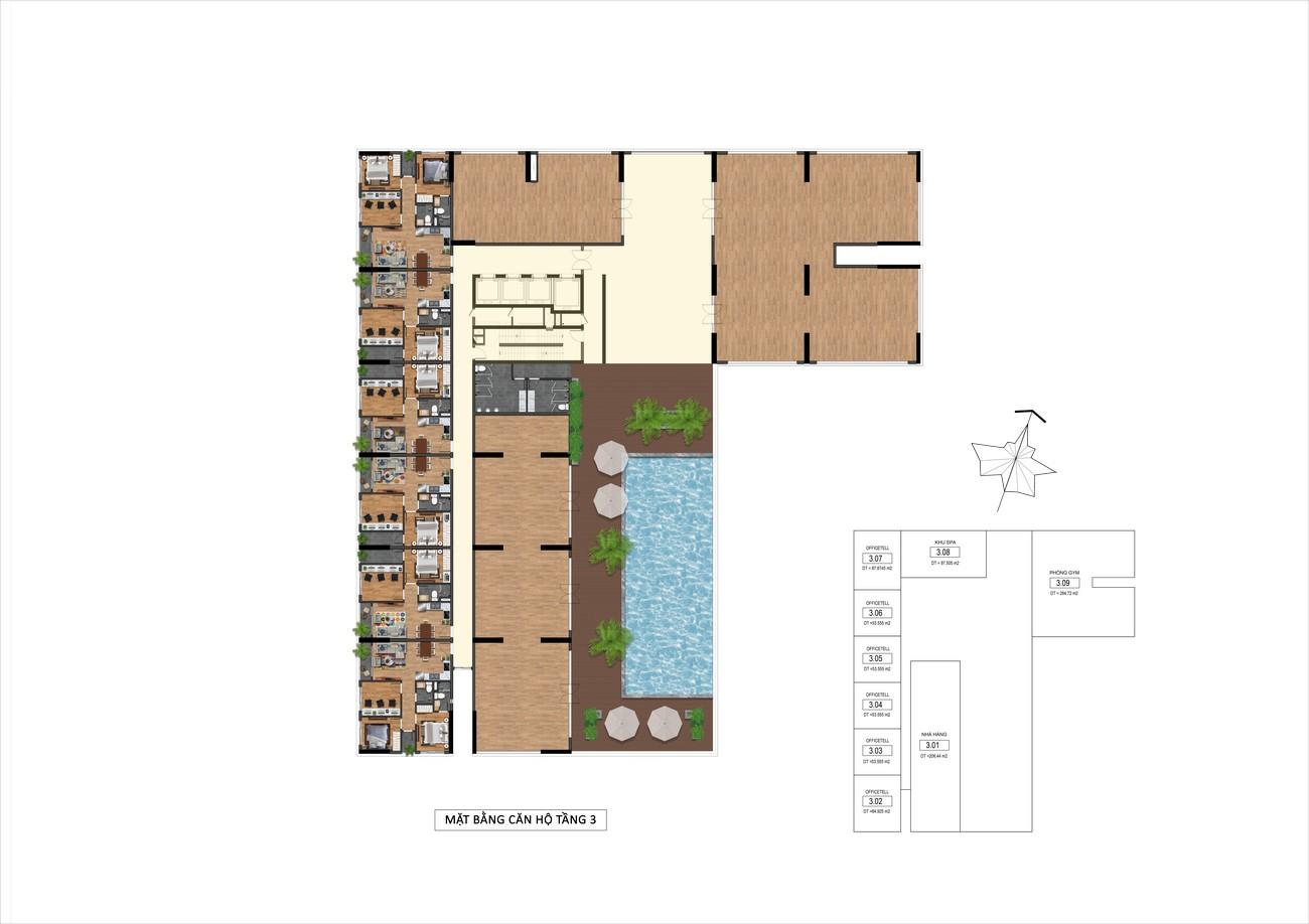 Mặt bằng tầng 3 dự án Goldora Plaza Nhà Bè