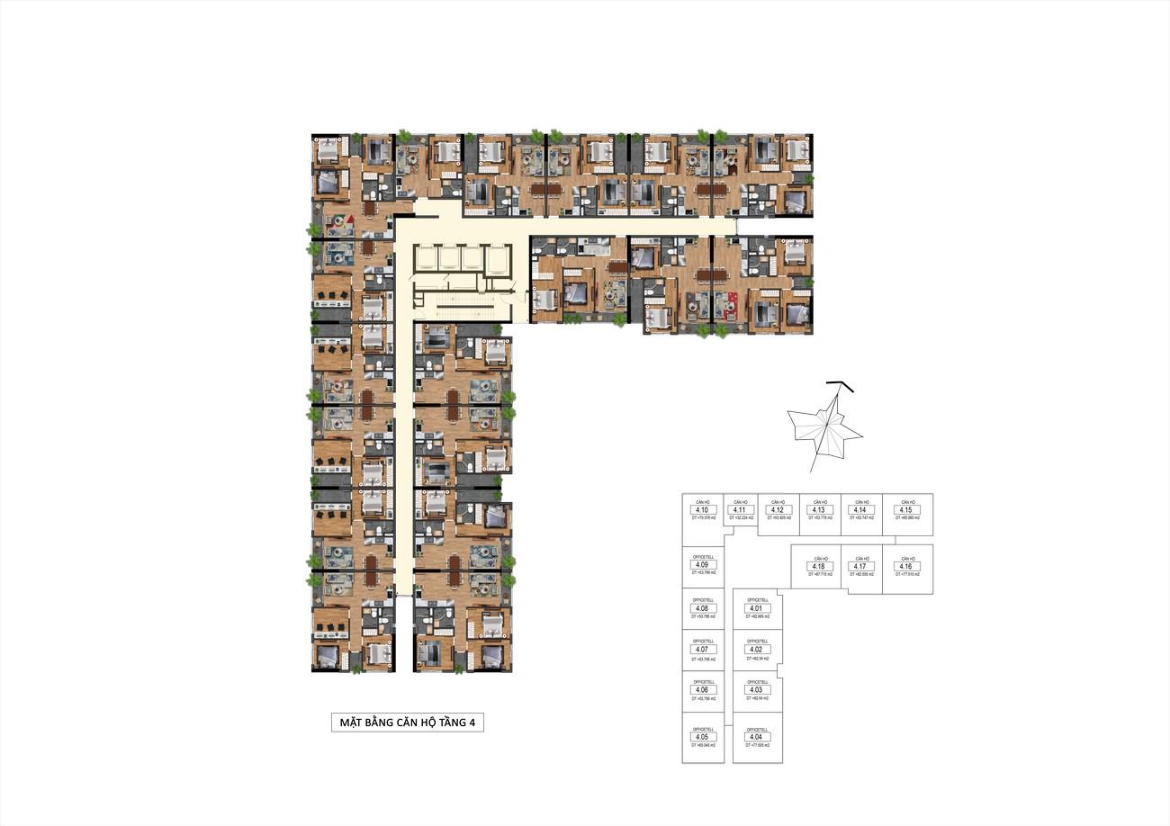 Mặt bằng tầng 4 dự án Goldora Plaza Nhà Bè
