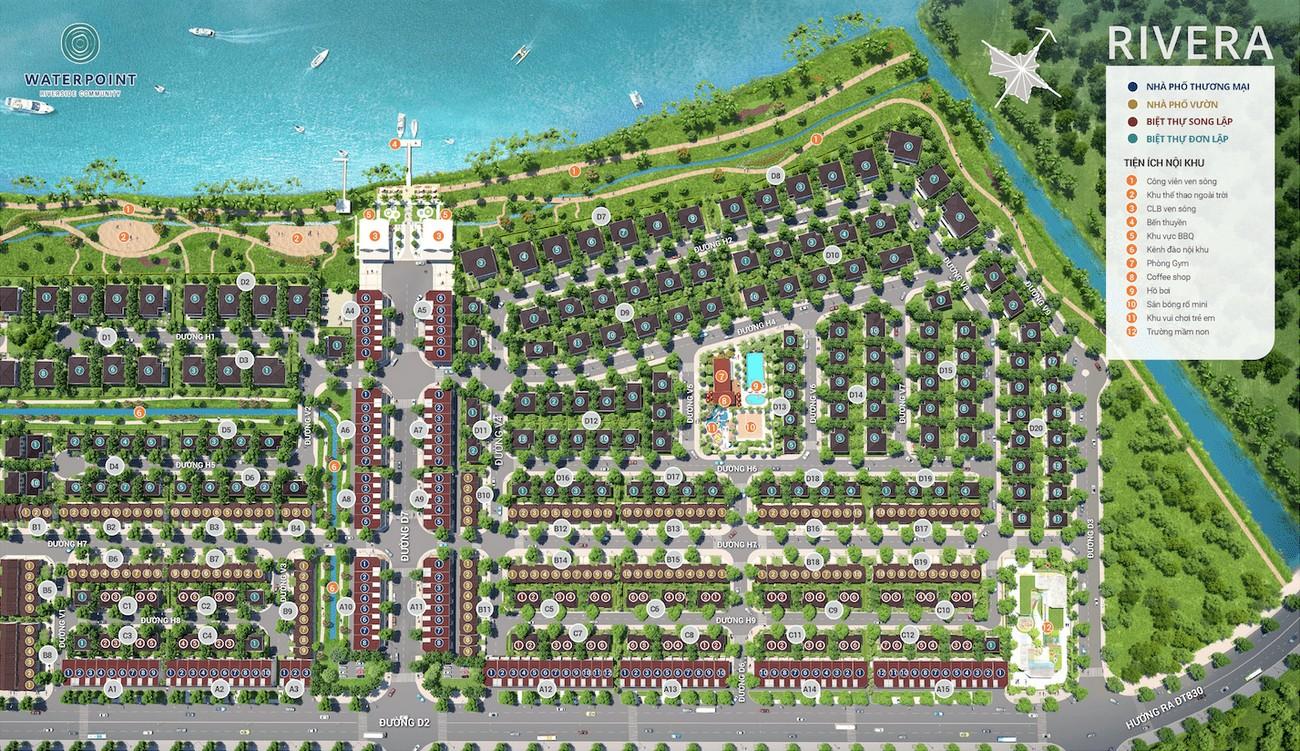 Mặt bằng dự án biệt thự nhà phố Waterpoint Long An Đường Tỉnh lộ 830 chủ đầu tư Nam Long