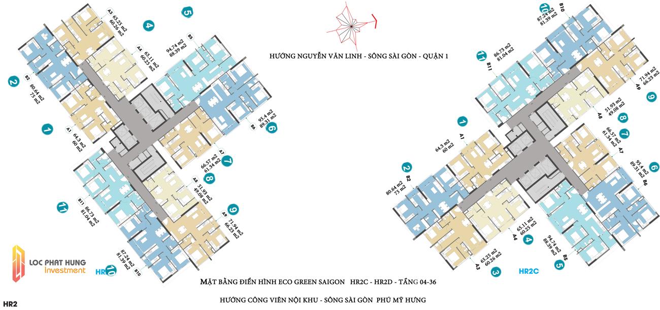 Mặt bằng thiết kế  tòa HR2C+HR2D căn hộ chung cư Eco Green Saigon Quận 7