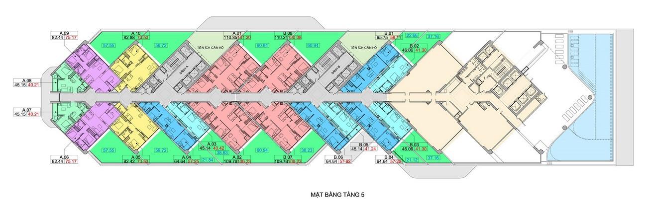 Mặt bằng tầng 5 dự án căn hộ condotel Scenia Bay Nha Trang Đường Phạm Văn Đồng chủ đầu tư Nam Tiến Lào Cai