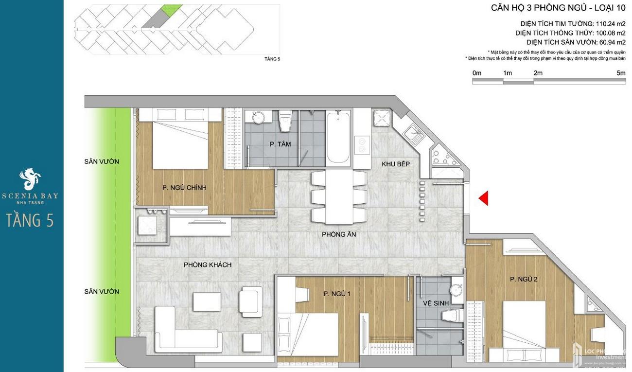 Thiết kế tầng 5 dự án căn hộ condotel Scenia Bay Nha Trang Đường Phạm Văn Đồng chủ đầu tư Nam Tiến Lào Cai
