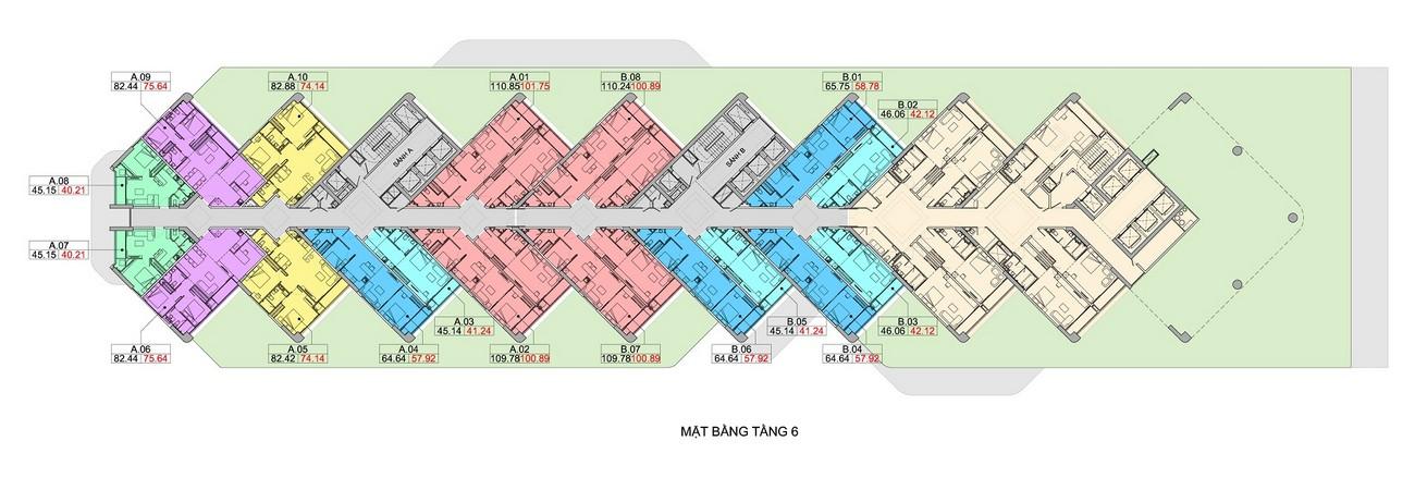 Mặt bằng tầng 6 dự án căn hộ condotel Scenia Bay Nha Trang Đường Phạm Văn Đồng chủ đầu tư Nam Tiến Lào Cai