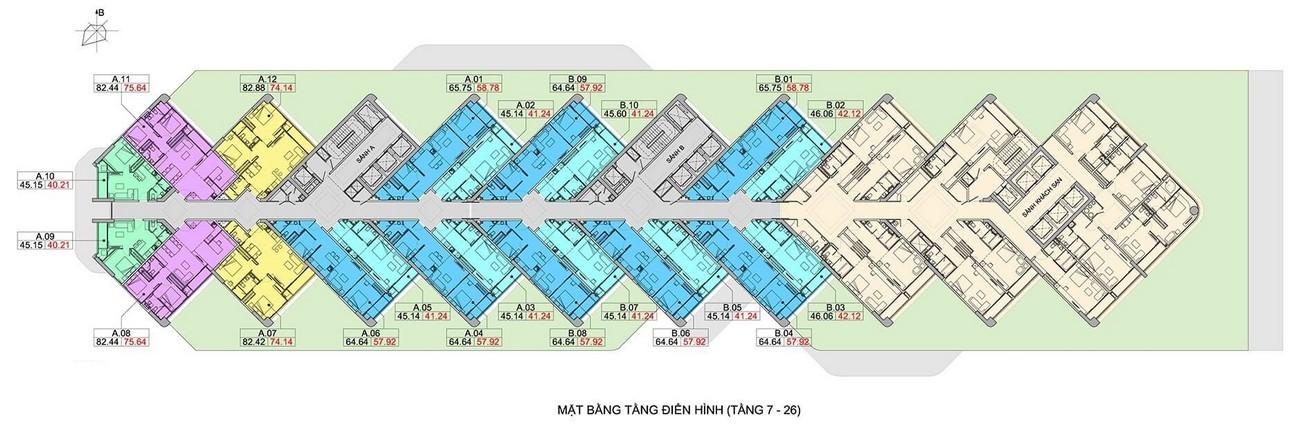 Mặt bằng dự án căn hộ condotel Scenia Bay Nha Trang Đường Phạm Văn Đồng chủ đầu tư Nam Tiến Lào Cai