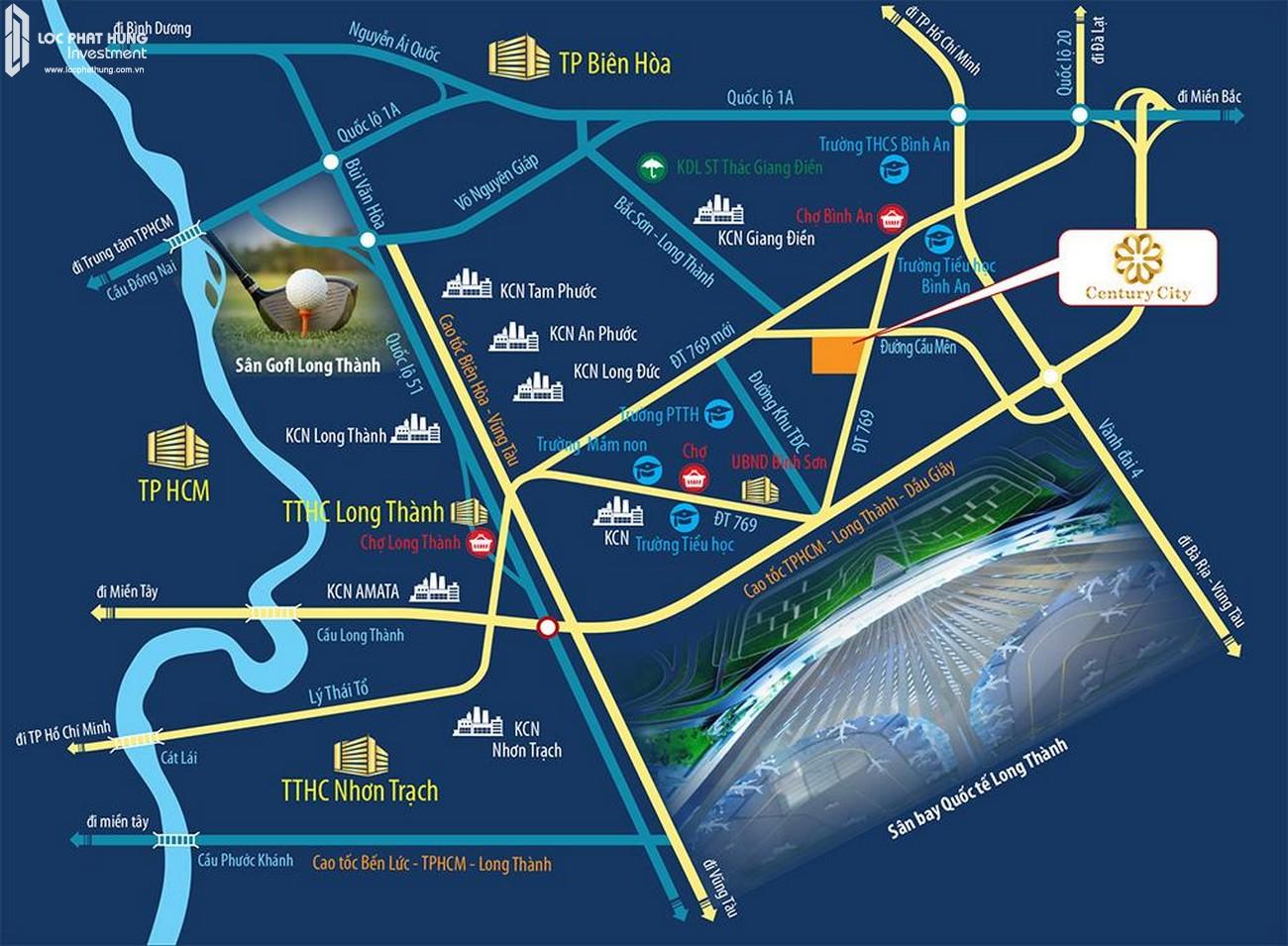 Vị trí địa chỉ dự án đất nền Century City Long Thành Đường ĐT769 chủ đầu tư Kim Oanh