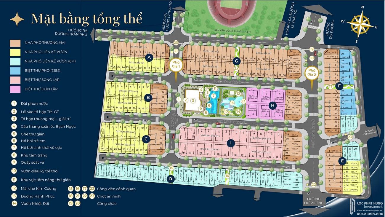 Mặt bằng dự án nhà phố Phú Gia Residences Nhơn Trạch Đồng Nai chủ đầu tư Phú Long