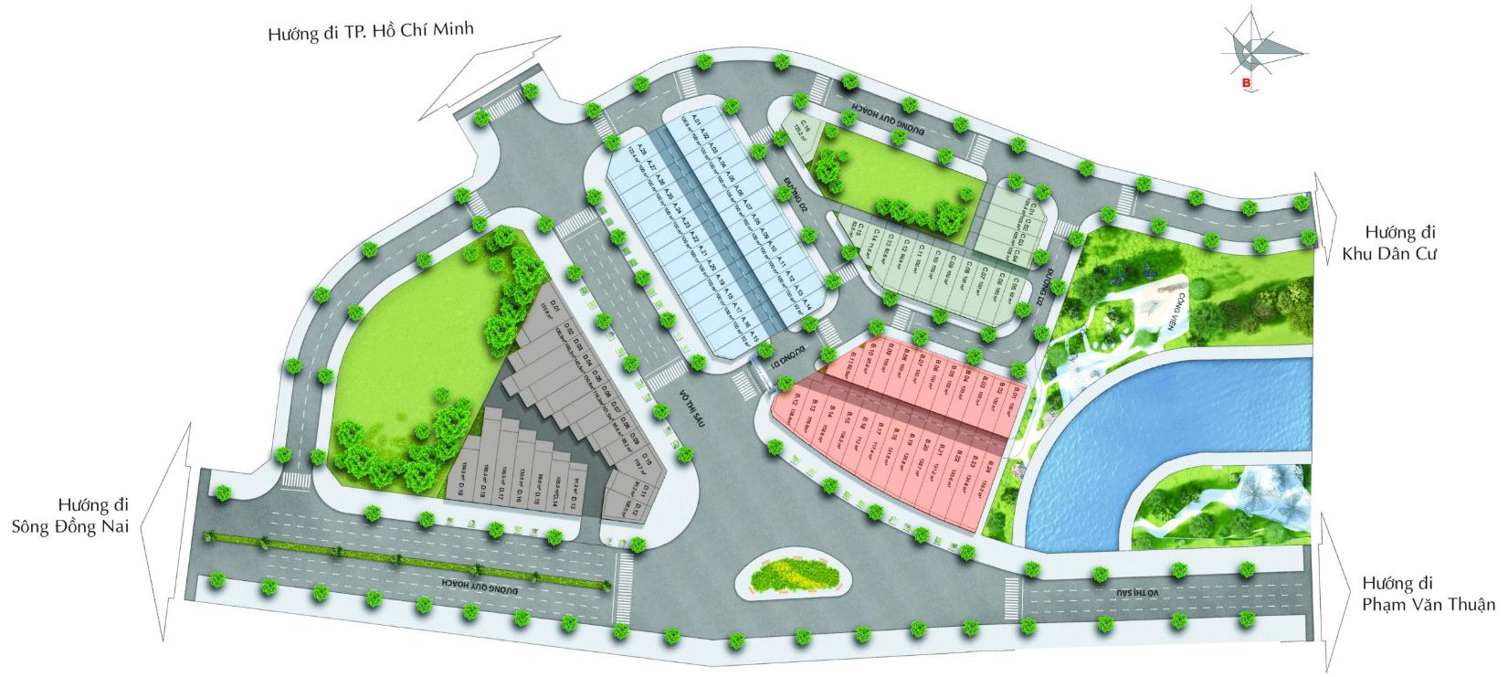 Sơ đồ mặt bằng dự án nhà phố Diamond Central Biên Hòa Đồng Nai chủ đầu tư Gotecland
