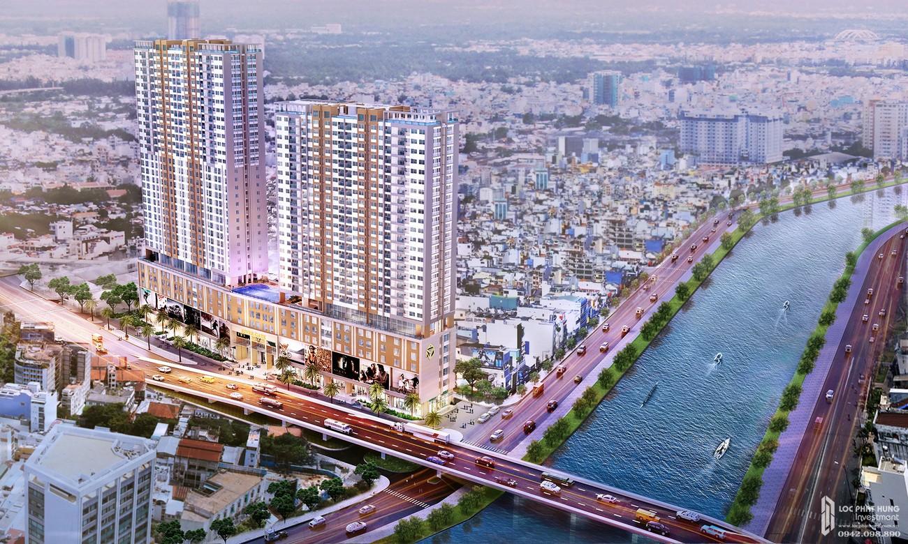 Phối cảnh tổng thể dự án căn hộ chung cư Rivergate Residence Quận 4 Đường Bến Vân Đồn chủ đầu tư Novaland